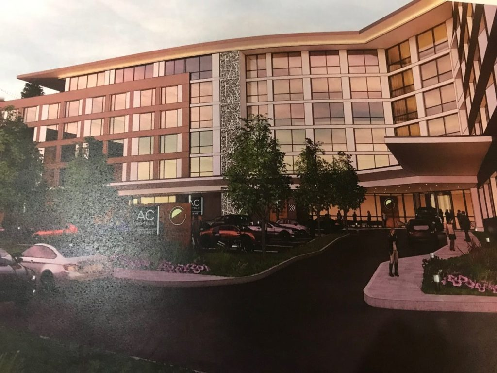 Developers of ON3, the rebranded name for the Hoffman LaRoche campus, provided a rendering for a proposed Marriott AC hotel along Route 3 in Clifton.  Image source: northjersey.com, Photo by Matt Fagan, Oct. 4, 2019.