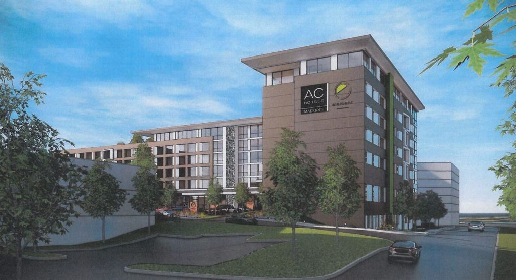 Marriott AC Hotel proposed for Route 3 ON3 property in Clifton.  Image source: northjersey.com, Courtesy of ON3, Oct. 4, 2019.